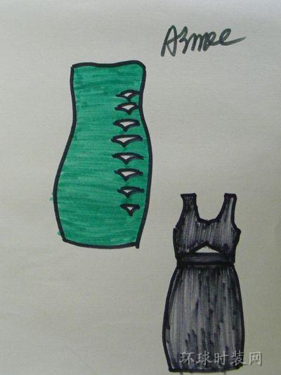 原创手绘礼服设计图:简洁的款式,镂空的设计是重点,给简约的款式增添