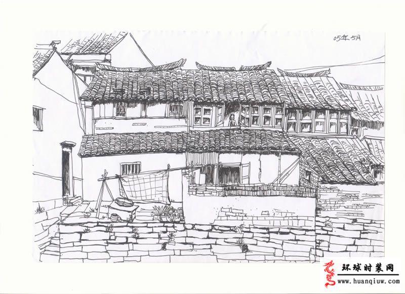 江南手绘图片素描