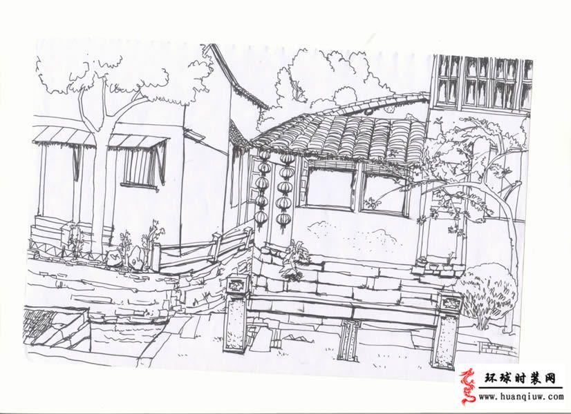 江南風景簡筆畫圖片大全