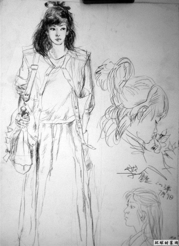 速写背书包_背书包的女学生-速写-原创绘画作品欣赏-环球时装网