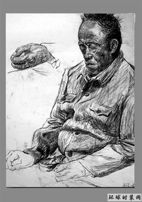 素描人物肖像之老人
