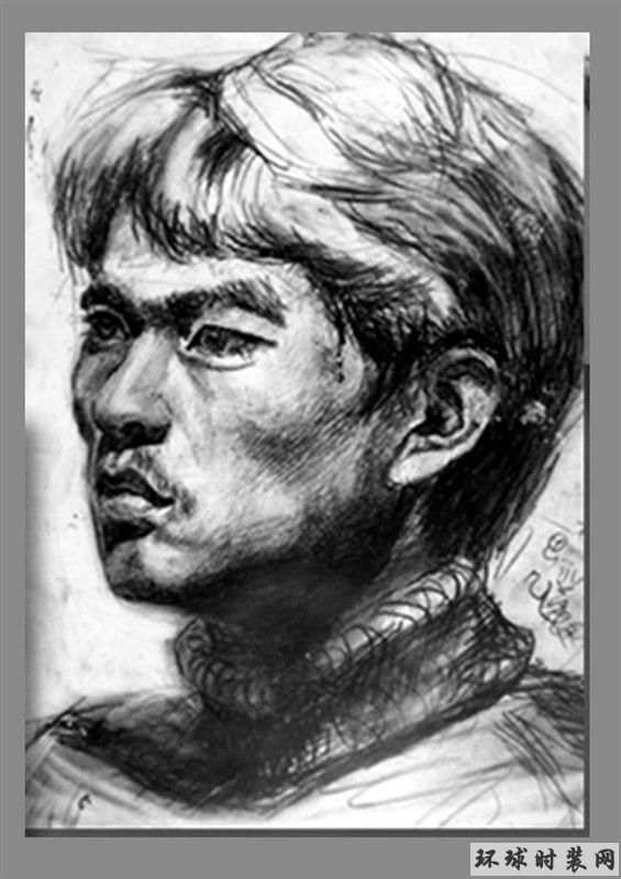 素描人物肖像之男生