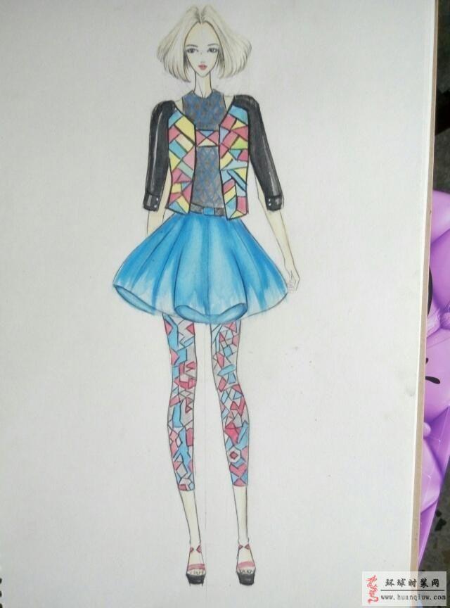 慕暖的作品:几何图案服装设计手绘效果图