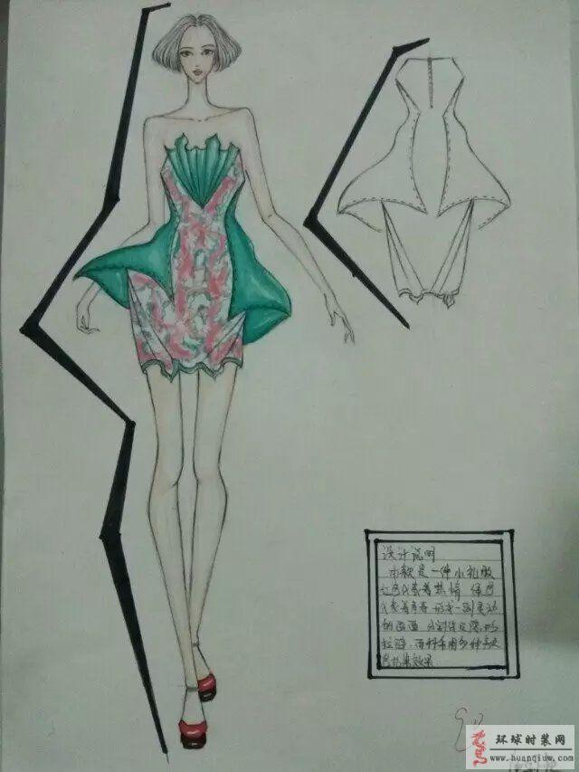 慕暖的作品:小礼服手绘设计效果图-原创服装设计作品