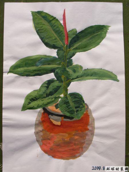 水粉手绘图植物