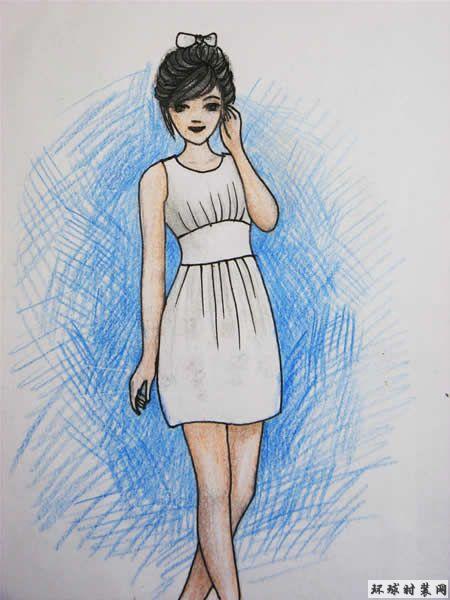 彩色铅笔画-连衣裙