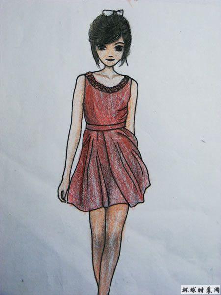 连衣裙-彩色铅笔画