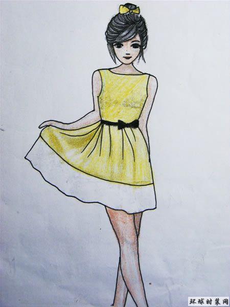 黄色简洁款连衣裙-彩色铅笔画