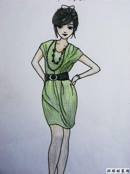 绿色连衣裙-彩色铅笔画