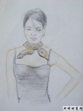 彩铅人物画-戴丝巾的女孩