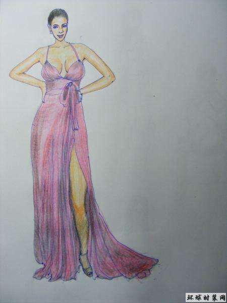 礼服-彩色铅笔画