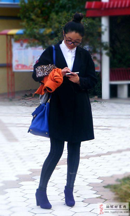 街拍-黑色大衣-薇薇