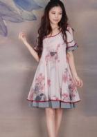 烟花烫ZG2014春夏新款女装甜美印花宽松腰连衣裙 牡丹红
