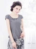 烟花烫ZY2014夏新品女装优雅气质修身纯色短袖衬衫上衣 语云