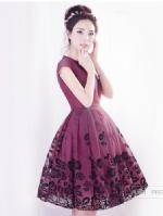 烟花烫SD2014夏新款女印花甜美欧根纱拼接印花短袖连衣裙 半容