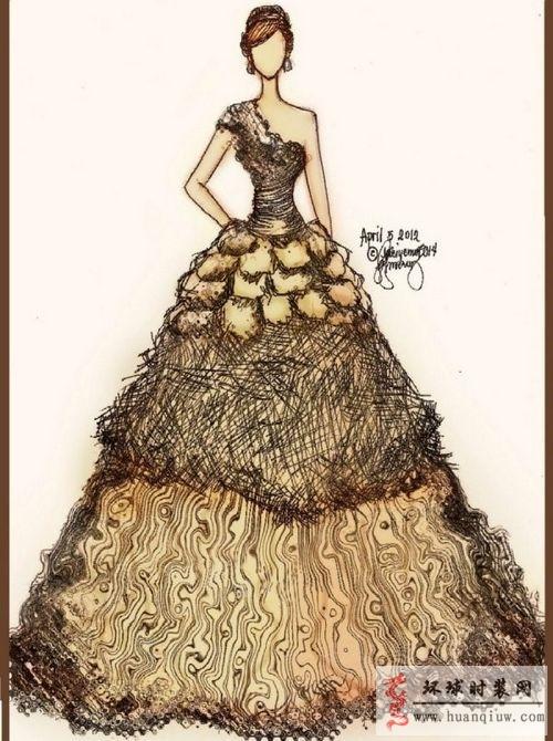 时装画手绘稿 设计师手稿 joanna marie的手绘晚礼服 全屏显示 下载无