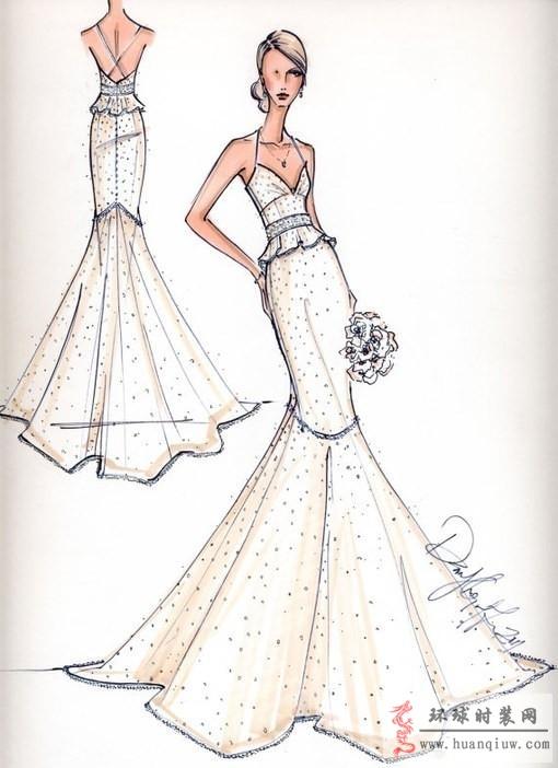 时装画手绘稿 婚纱手绘设计图 全屏显示 下载无水印版( 1 浏览(34)
