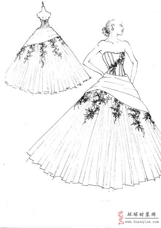 婚纱手绘设计图_20121138 - 时装设计师作品-时装周