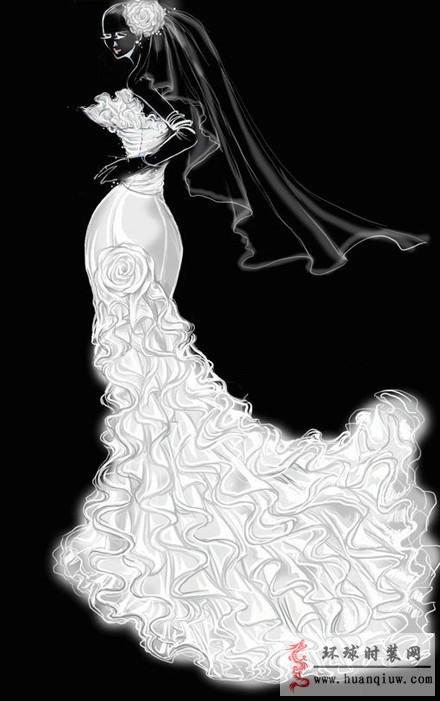 时装画手绘稿 婚纱手绘设计图