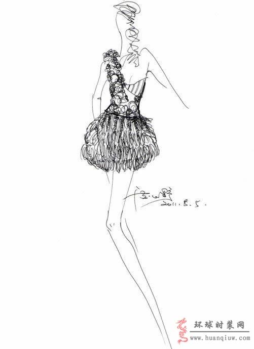 婚纱手绘设计图_20121321 - 时装图库免费版_时装设计师作品_时装周图片_时装秀图片 - 时装图库-环球时装网
