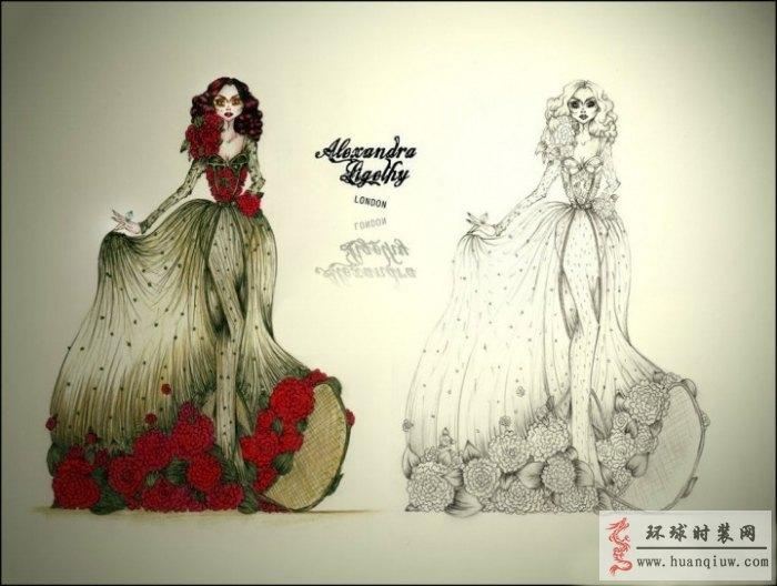 婚纱手绘设计图_20124541