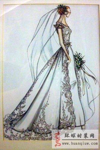 手绘拖尾婚纱设计图_手绘拖尾婚纱设计图画法