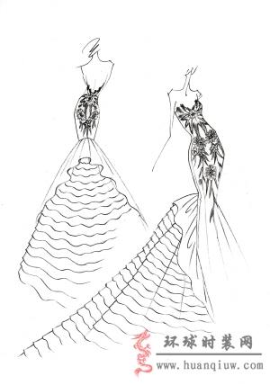 婚纱手绘设计图_20124554